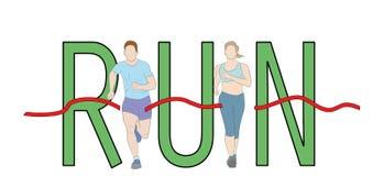 Run text font design, Marathon runners, Men and Women running graphic vector. royalty free illustration
