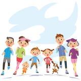 Run in three-generation family vector illustration