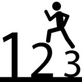 Run to number one. A man is running on numbers. It is a stick figure vector Royalty Free Stock Image
