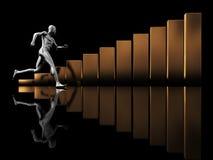 Run to success. Abstract 3d illustration of running man and raising charts Royalty Free Stock Photos