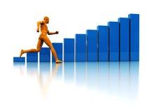 Run to success. 3d illustration of running man and raising charts Stock Photo