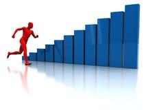 Run to success. Abstract 3d illustration of running man and raising charts Royalty Free Stock Photography