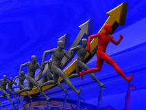 Run to success. 3d illustration of team with leader runing to success Stock Photo