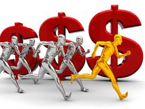 Run to success. 3d illustration of team with leader run to success over money signs Stock Image