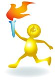 Run with torch. Isolated illustrated cartoon image Stock Photos
