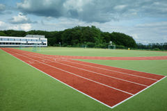 Run track in sport stadium Stock Images