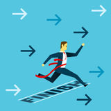 Run up progress. Businessman run to the finish line. Concept business  illustration. All of the situation in office, unique life of worker Royalty Free Stock Photos