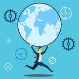 Run up progress. Businessman running with a globe. Concept business  illustration. Worker daily life and project planning business Royalty Free Stock Photos