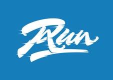 Run vector brush script lettering. Run, expressive vector brush lettering that can be used for t-shirt, banner, postcard design Royalty Free Stock Photo