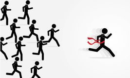 Run and win. Illustration (vector) with man that is running Royalty Free Stock Image