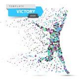 Run, winner man. Image consisting of dots. Vector eps10 Stock Image