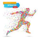 Run, winner man. Image consisting of dots. Vector eps10 Royalty Free Stock Image