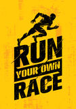 Run Your Own Race. Inspiring Active Sport Creative Motivation Quote Template. Vector Rough Typography Banner Design Stock Photo