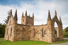 Ruínas da igreja na cadeia histórica do Port Arthur Fotografia de Stock