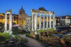 Ruínas famosas do fórum Romanum Fotos de Stock