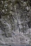 Runas germánicas antiguas en la pared de la cueva Imágenes de archivo libres de regalías