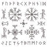 Runas místicas de vikingo Talismán pagano antiguo, símbolo de la runa de los nórdises Símbolos del vector del temor del misticism stock de ilustración