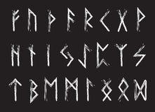 Runauppsättning av bokstäver, runaalfabet Run- alfabet Skriva som är forntida Futhark också vektor för coreldrawillustration Fotografering för Bildbyråer