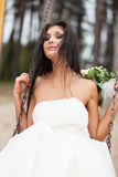 Runaway bride. On the swing Stock Photos