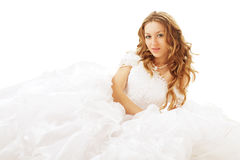 Runaway bride. Lying beauty bride in white dress isolated Royalty Free Stock Photo