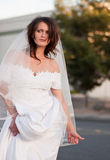 Runaway bride hitchhiking. Pretty girl in a wedding dress hitchhiking Stock Photography