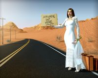 Free Runaway Bride Standing On Side Of Road Holding Sign Royalty Free Stock Photography - 150821757
