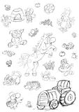 Runaway horse cat and pig sitting hen bees and tractor,sketches and pencil sketches and doodles Royalty Free Stock Images