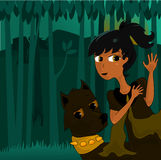 Running in Nightmare. Illustration of a young girl and her dog in a run away nightmare. Running through a dark forest at nighttime royalty free illustration