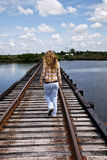 Runaway teen girl in country Royalty Free Stock Photos