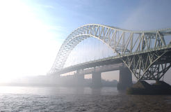 Runcorn Bridge. The Runcorn/Widnes Bridge in cheshire royalty free stock photography