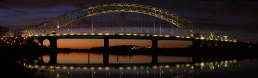 Runcorn Bridge pano. Runcorn Bridge Taken At Dusk Stock Images