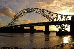 Runcorn Bridge. Taken At Dusk Stock Photo