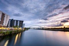 Runcorn Bridge Uk. Panoramic  view of a major river crossing bridge The Mersey Gateway at Widnes, UK Stock Photos