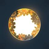 Rund öppning med kugghjul som göras av rostig metall Royaltyfri Illustrationer