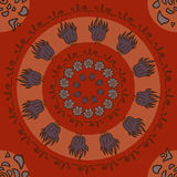 Rund abstraktion med blommor på röd bakgrund Vektor Illustrationer