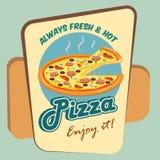 Rund advertizingaffisch för pizza royaltyfri illustrationer