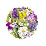 Rund bakgrund - blom- modell - blommor, vårfjärilar Retro vattenfärg Royaltyfria Foton