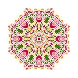 Rund bakgrund i skuggor av smaragden Blommacirkulärbakgrund mandala Royaltyfria Foton