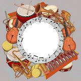 Rund bakgrund med anmärkningar och musikinstrument på grå färger royaltyfri illustrationer