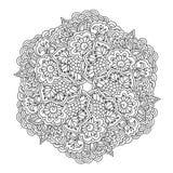Rund beståndsdel för färgläggningbok för blommamodell för svart fjäril blom- white Arkivfoton