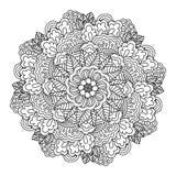 Rund beståndsdel för färgläggningbok för blommamodell för svart fjäril blom- white Vektor Illustrationer