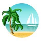 Rund bild av sommarsemestern på ön med yachten Loppsommartid Gömma i handflatan, sand och havet Arkivfoto