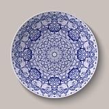 Rund blå målning för kinesisk stil för blom- prydnad på porslin Modell som visas på det keramiska uppläggningsfatet vektor illustrationer