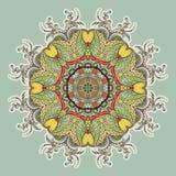 Rund blom- prydnad vektor illustrationer