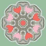 Rund blom- prydnad royaltyfri illustrationer