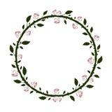 Rund blom- ram med gröna konturer för filialer och för sidor och för röda rosor vektor illustrationer
