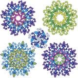 Rund blommaprydnadmodell Uppsättning av färgrika mandalas arkivbild