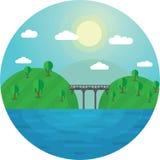 Rund bro för vektorillustrationlandskap mellan två kullar och sjökusterna Royaltyfria Foton