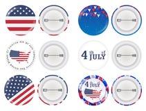 Rund brosch 4th juli och Amerika flaggatema stock illustrationer