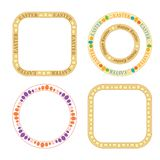 Rund dekorativ vektor och quadrateramar med dekorativa färgägg för easter ferie royaltyfri illustrationer